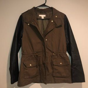 H&M utility jacket with leather sleeves
